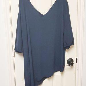 Lane Bryant Asymmetrical Cold Shoulder Navy Shirt